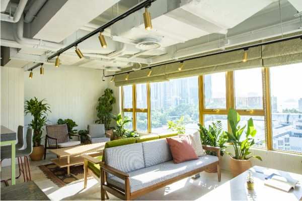 A surrounding lounge complete with comfortable seating and plants