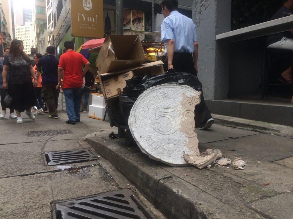 Go Hung's artwork on street in Hong Kong