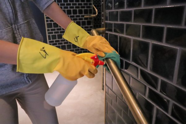 We use 1:99 diluted household bleach to clean all surface areas.