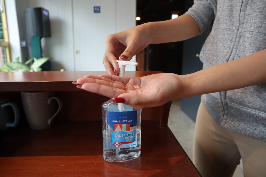 We have placed hand sanitizer around the building for our residents and guests' use in the communal area.