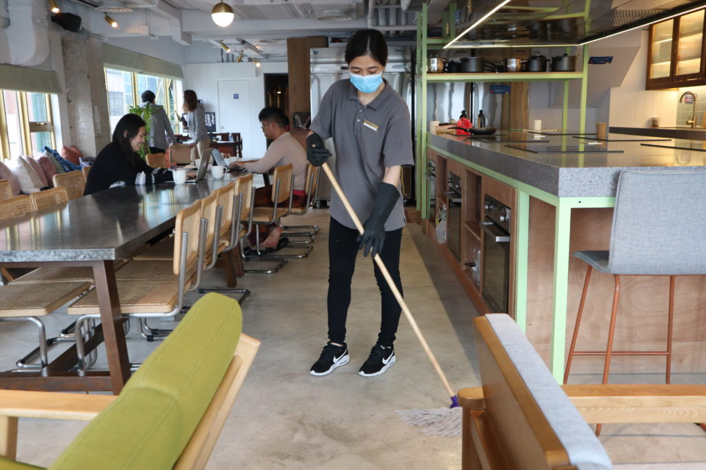 Magic Clean's staff is mopping the communal area