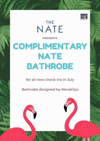 Complimentary Nate bathrobe for new check-ins